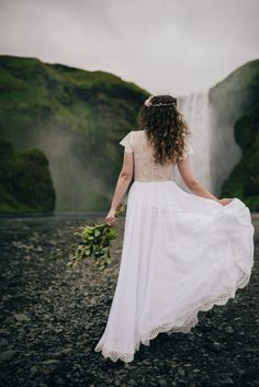 Iceland Elopement - Skogafoss waterfall - Bride - Wear Your Love - Charis Rowland Photography - Destination Wedding Photography - elopement photographer - bridal portrait