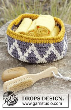 "#Crochet basket with color pattern in 2 strands ""Paris"".Free Pattern"