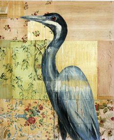 Blue Heron, oil on collage - Tom Judd