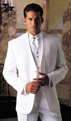 Raffinati White Spectra Three Button Stand-up Collar