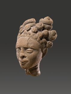 Akan culture (Ghana) Commemorative Portrait Head 16th - 18th century terracotta with traces of polychrome 12 x 8 x 5½ in 30.48 x 20.32 x 13.97 cm