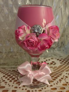 Romantic pink small wine glass by DesignedbyDivas on Etsy, $24.95