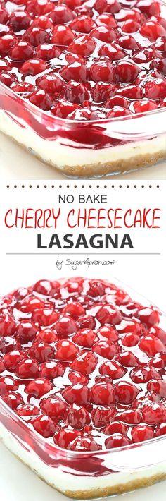 No Bake Cherry Cheesecake Lasagna - dessert lasagna with graham cracker crust, cream cheese filling, pecans and cherry pie topping.