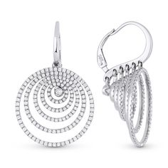 1.59ct Round Cut Diamond Pave Dangling Circle-Stack Leverback Earrings in 14k White Gold - AlfredAndVincent.com