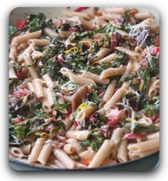 Mara's Whole Wheat Penne with Chard, Clives, and Capers