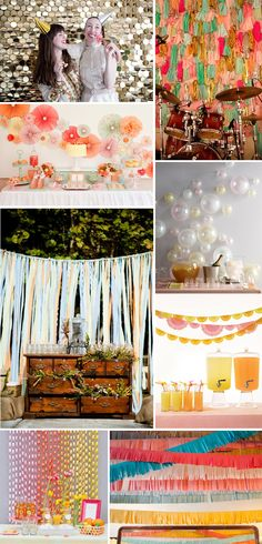 DIY Wedding Banners & Backdrop ideas. Love the long fabric strips on the rope