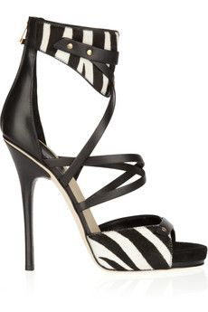 Jimmy Choo  Jet calf hair and leather sandals