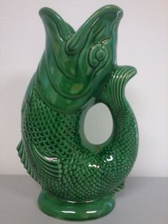 Vintage retro 1950 39 s kitsch mid century atomic iconic gurgling fish water jug green dartmouth - Fish pitcher gurgle ...