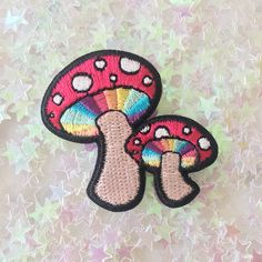 TR00137MLTOS Magic Mushroom Patch - Iron On Patches Embroidered - Rainbow - Trippy - Wildflower + Co - Main