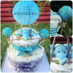 2 Tier Hot Air Balloon & Plush Diaper Cake by AngelasWorkOfheART