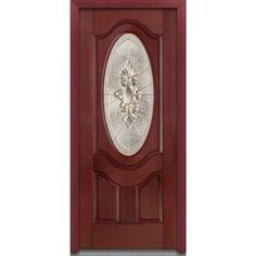 Milliken Millwork 36 in. x 80 in. Heirloom Master Decorative Glass 3/4 Oval Lite 2-Panel Finished Mahogany Fiberglass Prehung Front Door