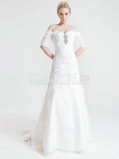 A-line Off-the-shoulder Court Train Lace Satin Wedding Dresses