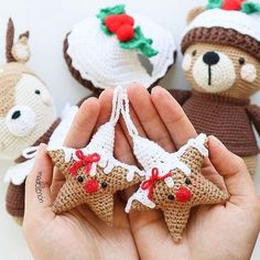 Would you adore some cookies? Crochet Christmas Decorations, Holiday Crochet, Crochet Gifts, Cute Crochet, Crochet Toys, Xmas Decorations, Crochet Ornaments, Crochet Patterns Amigurumi, Knitting Patterns