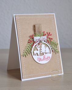 Framelits Christmas Cards Happy Labels and Branches and Pine Cones – Christmas Ideas – Happy Christmas :) Christmas Cards 2018, Stampin Up Christmas, Christmas Paper, Christmas Wishes, Xmas Cards, Christmas Greetings, Handmade Christmas, Holiday Cards, Stampin Up Weihnachten