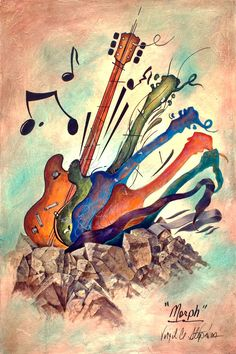 "music clipart images | music painting of guitars, music art called ""Morph"" By Virgil C ..."