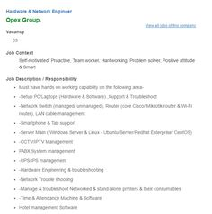 Career – Opex Group – Hardware & Network Engineer Opex Group is looking forHardware & Network Engineer. Qualification: Computer Science