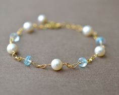 Pearl Blue Topaz Bracelet Gold Fill Real Blue by BlueRoomGems