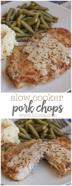 Simple and delicious Slow Cooker Pork Chops - a new favorite dinner recipe that is easy and tasty!