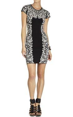 Herve Leger Short Sleeve Printed Bandage Dress