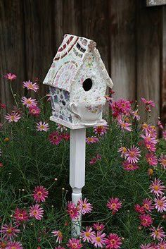 Buy or Build a Birdhouse then paint and use up all your broken china you have been saving! #buildabirdhouse