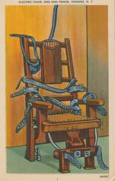 Electric chair. Sing-Sing Prison, Ossining, N.Y. Postcard, United States of America.