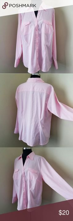 "Pink Long-Sleeve, Iron-free Shirt, 18/20 Like New! Beautiful pink long-sleeve iron-free shirt with cute rectangle pink buttons, 96% polyester, 4% spandex. Msrmts: 19"""" sleeve, 29"""" length, 50"""" bust, size 18/20 by Lane Bryant Lane Bryant Tops Button Down Shirts"