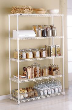 A disorganized pantry is a kitchen nightmare. Turn your cluttered kitchen pantry (or kitchen cabinets) into a storage dream with these great pantry organizers. Kitchen Shelves, Kitchen Pantry, Kitchen Shelving Units, Pantry Organizers, Kitchen Storage Rack, Kitchen Organization, Perfect Pantry, Commercial Kitchen, Shelving
