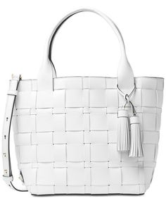 95d773f9c113 ... uk michael kors vivian medium tote leather tassels and woven texture  white nwt 478 michaelkors 8c593