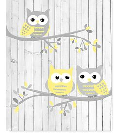 Owl Nursery Art, White Gray Pale Yellow Owls on Branches, Girls Room Decor, Sweet Nursery Art, Baby Baby Owl Nursery, Nursery Art, Girl Nursery, Girl Room, Baby Room, Nursery Ideas, Owl Nursery Decor, Elephant Nursery, Baby Owls