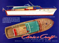 Classic Boats :: Vintage Ads :: 1953 Chris-Craft Conqueror and Corsair Plywood Boat Plans, Wooden Boat Plans, Old Boats, Small Boats, Chris Craft Wooden Boats, Wooden Speed Boats, Free Boat Plans, Runabout Boat, Classic Wooden Boats