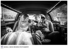 Angela and Tom after their Portland Maine wedding. In the Maine Limousine Co, limo. Portland Maine wedding, Portland Westin Harborview wedding