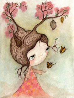Tree Girl ButterflyBlossom Original Watercolor by thepoppytree