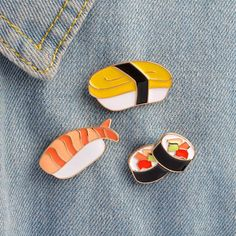 Brosa Caricatura, model Sushi, cu Buton din Metal cu Ac, Insigna Ecuson pentru Guler Geci Denim, Tricouri, Rucsac
