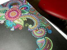 Prismacolor zentangle doodles on on black paper  gotta try