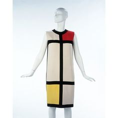 The Mondrian Collection Object: Cocktail dress Place of origin: Paris, France (made) Date: 1965 (designed) Artist/Maker: Yves Saint Laurent Saint Laurent Dress, Yves Saint Laurent, 1960s Fashion, Vintage Fashion, Vintage Beauty, Vintage Style, Mondrian Dress, Piet Mondrian, Ysl