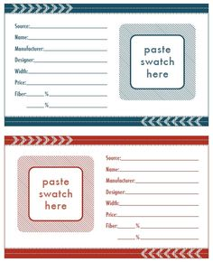 Fabric Swatch Cards - Free Printable
