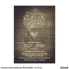 country rustic mason jar floral bridal shower 5x7 paper invitation card