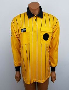 836681364 Details about Official Sports International Mens Yellow Black Soccer  Referee Shirt Size Medium