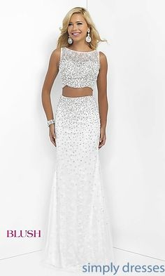 Floor Length Off White Sleeveless Two Piece Gown by Blush