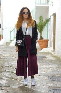 Pantaloni culottes in ciniglia ed un look elegante da giorno!