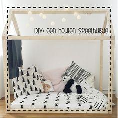 Wil jij ook een houten huisje maken? Ik heb de maten voor je op een rijtje gezet. Zo kan je zelf aan de slag met deze simpele DIY voor houten speelhuisje.