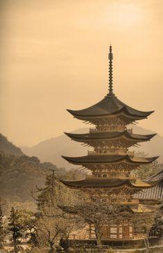 The Goju-no-to pagoda at Hokoku shrine on Miyajima Island, Japan