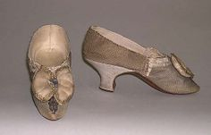 http://www.metmuseum.org/ Shoes  Date: 1770–89 Culture: British (probably) Medium: silk, leather Dimensions: [no dimensions available] Credit Line: Gift of Mr. Lee Simonson, 1939 Accession Number: C.I.39.13.257a, b