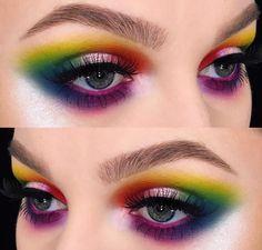 fashion, make-up, eyes, eyeshadow, rainbow #colorfuleyeshadows