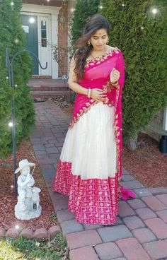 55 Bridal Lehenga designs that will inspire you - Wedandbeyond Half Saree Lehenga, Lehnga Dress, Sari, Bridal Lehenga, Kids Lehenga, Lehenga Blouse, Wedding Sarees, Gown Dress, Silk Dress