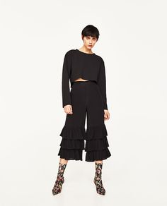 TROUSERS WITH FRILLS-Frilled-TROUSERS-WOMAN | ZARA United States