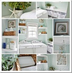 An amazing (and real) laundry room; love the laundry basket shelves! By Sand and Sisal. This is so do-able!