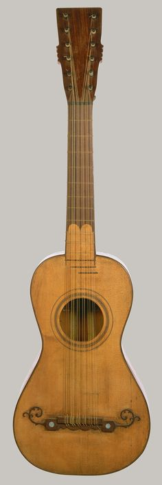 """Another beauty from the Met: """"Benito Sánchez de Aguilera: Guitar Guitar, 1797 Benito Sánchez de Aguilera (Spanish, active ca. Madrid """"This guitar has a two-piece top of spruce. Music Guitar, Cool Guitar, Making Musical Instruments, 12 String Guitar, Mandoline, Guitar Collection, Old Music, Guitar Design, Chant"""