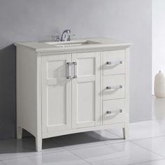 White Bathroom Vanity 36 aria 36-inch vanity (carrara/white) | vanity set, solid wood and