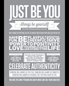 Affiche - affiche Just Be You de I Love My Type - une superbe idée cadeau